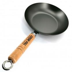 Steel wok with wooden handle 33 cm
