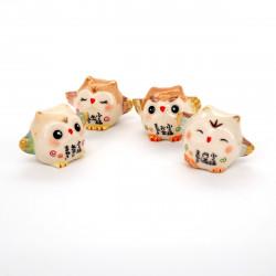 4 japanese small white ceramic owls, FUKUFUKURÔ, lucky charm
