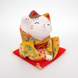 japanese ceramic manekineko lucky cat, KIMONO, yellow