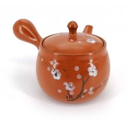 japanese kyusu teapot earth Tokoname, SAKURA, plum blossoms