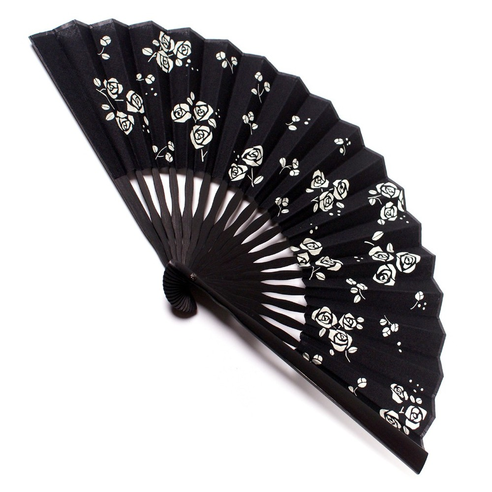 black japanese fan - cotton and bamboo - roses