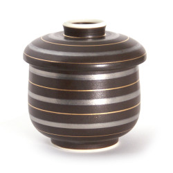 japanese tea bowl with lid - chawanmushi - RAIN, Brown