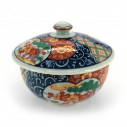 Tazza da tè giapponese con coperchio Chawanmushi, blu rossa KOIMARI fiori