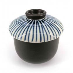 Tazza da tè giapponese con coperchio Chawanmushi, TOKUSA, linee blu