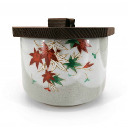Japanese ceramic grey bowl with wooden lid, TATTAGAWA, momiji