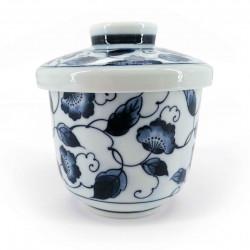 blue japanese tea bowl with lid - chawanmushi - HANA KARAKUSA