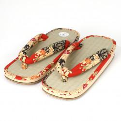 Japanese shoes - Zori straw goza 020 red