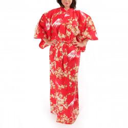 Japanese traditional red cotton yukata kimono sakura flowers on mont fuji for ladies