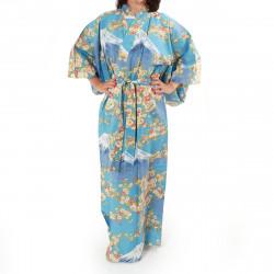 Japanese traditional blue cotton yukata kimono sakura flowers on mont fuji for ladies