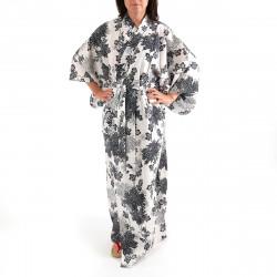 Japanese traditional white cotton yukata kimono chrysanthemum for ladies