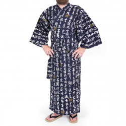 yukata kimono giapponese blu in cotone, HANNYA, HANNYA sutra