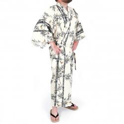 yukata kimono giapponese beige in cotone, TAKE, bambù e uccelli