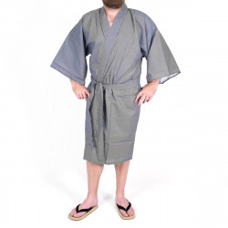 yukata kimono giapponese blu in cotone, 976H, zero