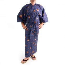 yukata kimono giapponese blu in cotone, DIAMOND, diamanti e kanji