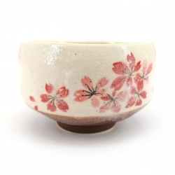 Japanese tea bowl for ceremony, SAKURA, red