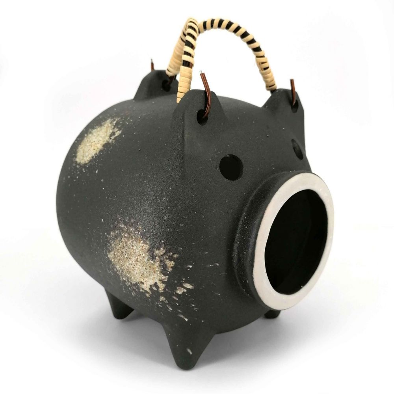 Ornamento da tavola in terracotta repellente per zanzare, KATORI BUTA, maiale nero