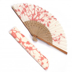japanese fan bamboo & cotton SAKURA with case