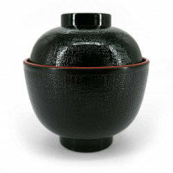 Soup bowl with lid, black - TEKUSUCHA
