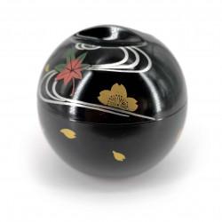 Round soup bowl with lid, black, momiji and golden sakura - RASEN