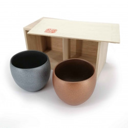 Duo of Japanese ceramic cups, metallic look - METARIKKU