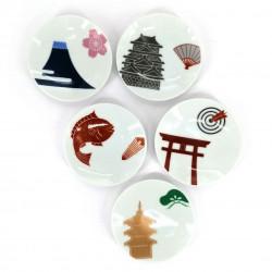 Set di 5 piccole tazzine in ceramica giapponese, illustrazioni tradizionali - DENTO