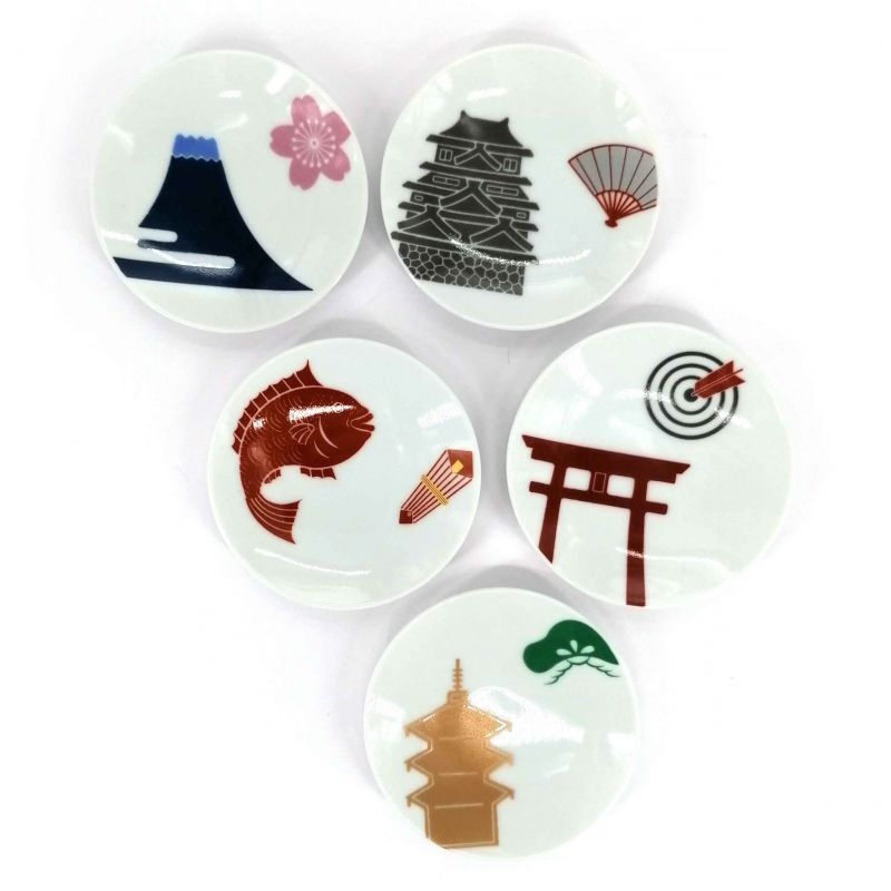 Set of 5 small Japanese ceramic cups, traditional illustrations - DENTO