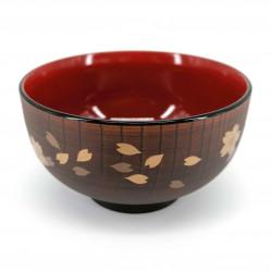 Piatto fondo, in resina finto legno, sakura dorato - GORUDENCHERI