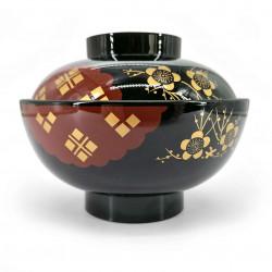 Resin soup bowl with lid, black and red, golden sakura patterns - GORUDENPURAMU