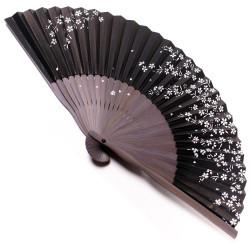 éventail japonais en papier et bambou KUROJI