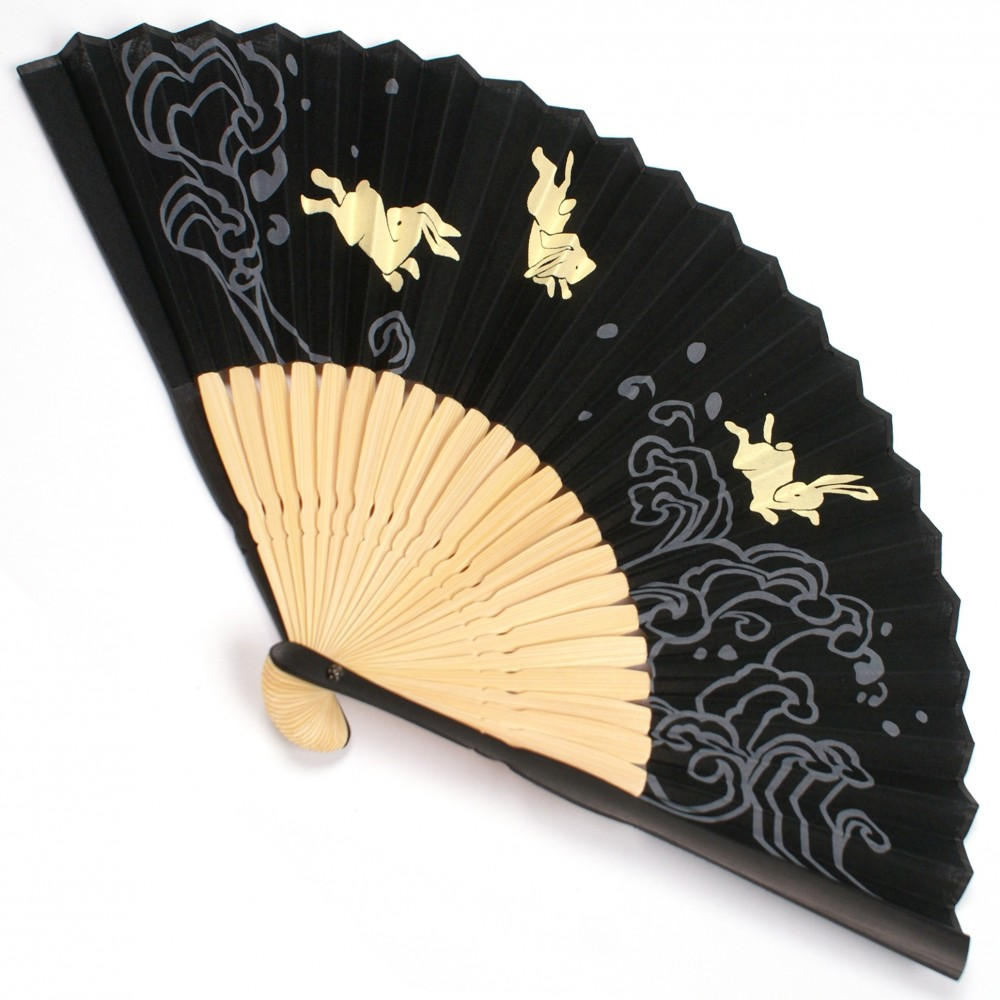 japanese fan bamboo & cotton NAMI-USAGI