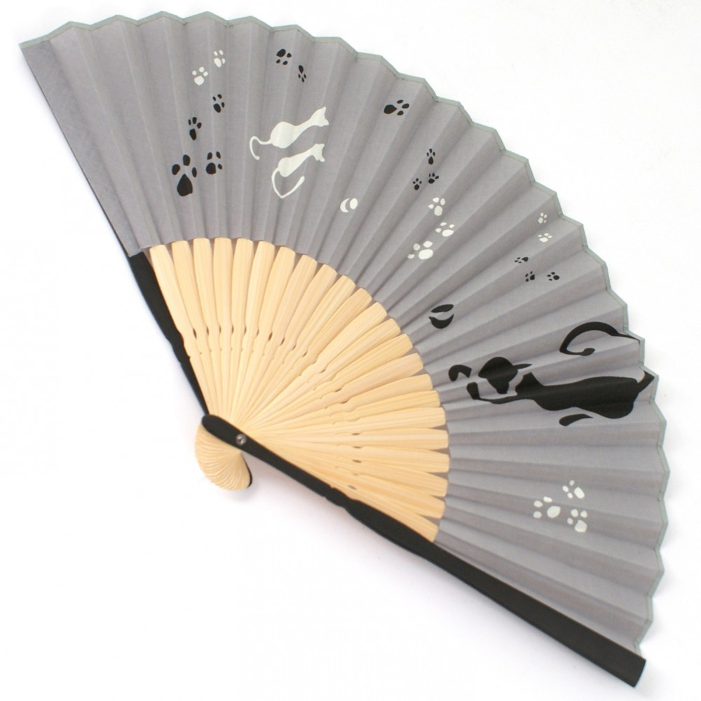 japanese fan bamboo & cotton NEKO