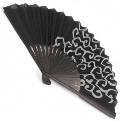 black cotton and bamboo Japanese Fan KARAKUSA