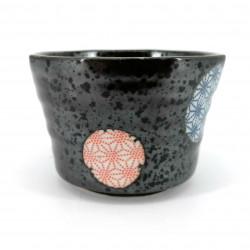 Piccolo contenitore in ceramica giapponese, cerchi neri motivi blu e rossi - ASANOHA