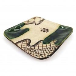 Piatto piccolo quadrato giapponese in ceramica, beige e verde - ORIBE