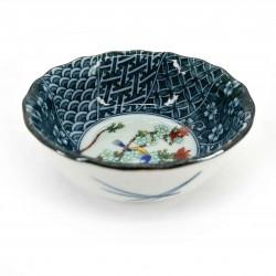 Piccolo contenitore in ceramica giapponese, marrone, bianco e blu, vari motivi - HARU