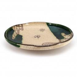 Piatto rotondo in ceramica giapponese, beige e verde - ORIBE