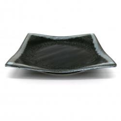 Piatto quadrato in ceramica giapponese, cerchi neri e grigi, HANSHA