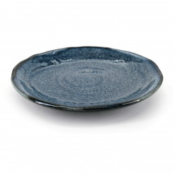 Small round Japanese ceramic plate, dark blue - JIMINA