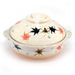 Donabe - vaso di terracotta, foglie autunnali beige, MOMIJI