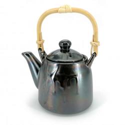 Japanese ceramic teapot, enamelled interior, removable filter, brown petroleum reflections, HANSHA