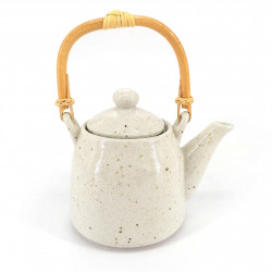 Japanese ceramic teapot, enamelled interior, removable filter, white, ANATA NO ISHI