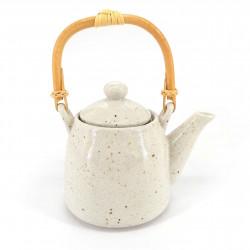 Teiera in ceramica giapponese, interno smaltato, filtro rimovibile, bianco, ANATA NO ISHI