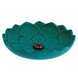 Japanese turquoise cast iron incense burner, IWACHU LOTUS, lotus flower