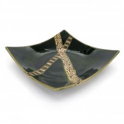 Japanese square ceramic plate with raised edges, green, crossed lines - KUROSUORIBE