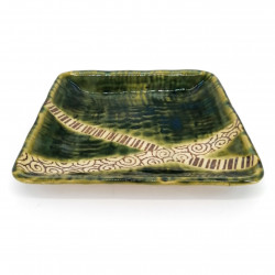 Japanese square ceramic plate, green, crossed lines - KUROSUORIBE