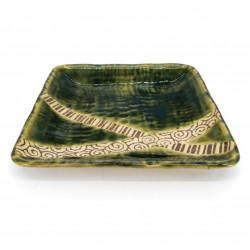 Piatto quadrato in ceramica giapponese, verde, linee incrociate - KUROSUORIBE