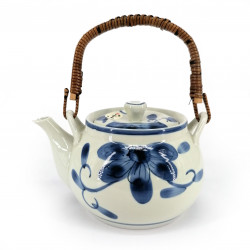 Japanese ceramic teapot, enamelled interior, removable filter, blue flowers, HANA