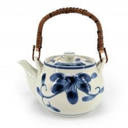 Teiera in ceramica giapponese, interno smaltato, filtro rimovibile, fiori blu, HANA