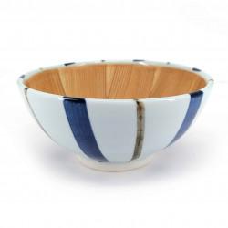 Japanese ceramic suribachi bowl, white with blue stripes, SUTORAIPU