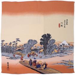 furoshiki japonais paysage d'été - Kawasaki-juku - Hiroshige